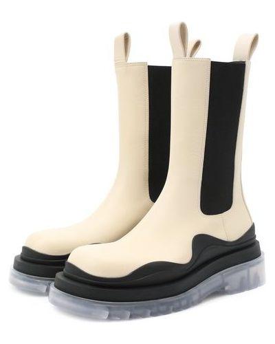 Кожаные белые ботинки челси матовые со вставками Bottega Veneta