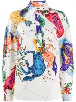 Белая классическая прямая футболка из вискозы Stella Jean