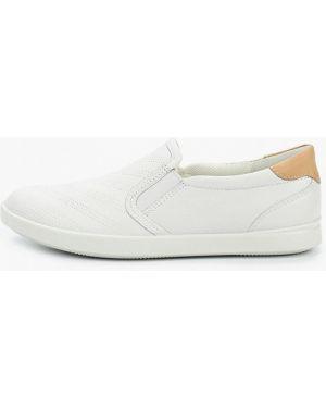 Кожаные белые слипоны Ecco