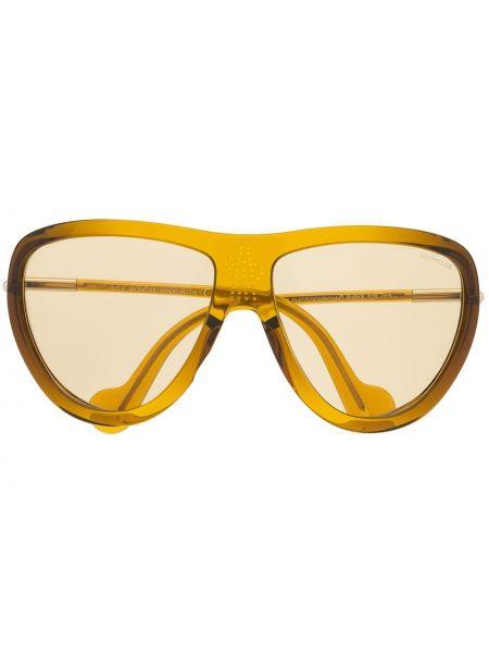 Муслиновые желтые солнцезащитные очки круглые Moncler Eyewear
