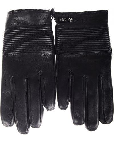 Кожаные перчатки черные Hugo Boss