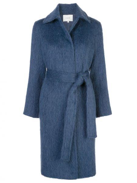 Синяя длинная куртка для полных Vince