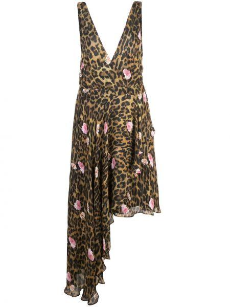 Шелковое платье - коричневое Nicole Miller