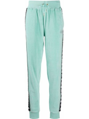 Хлопковые зеленые укороченные брюки эластичные Kappa