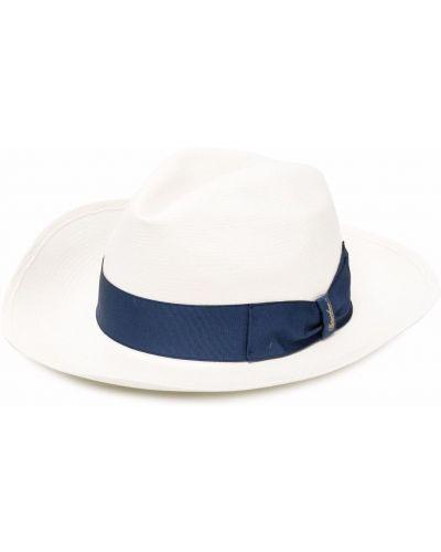 Белые соломенные шляпа федоры без застежки Borsalino
