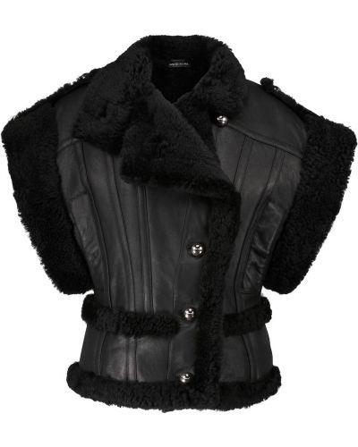 Кожаная жилетка - черная David Koma