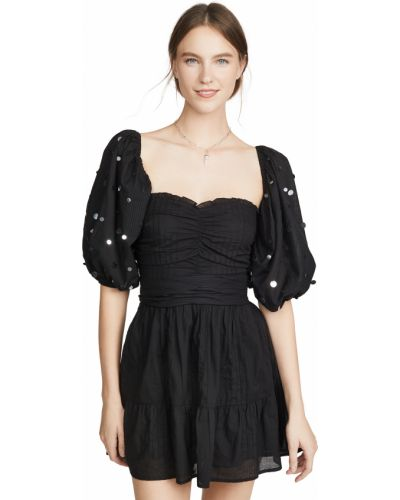 Хлопковое черное платье с декольте Sundress
