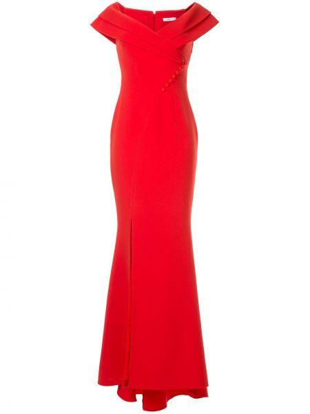 Красное приталенное вечернее платье на молнии с вырезом Safiyaa