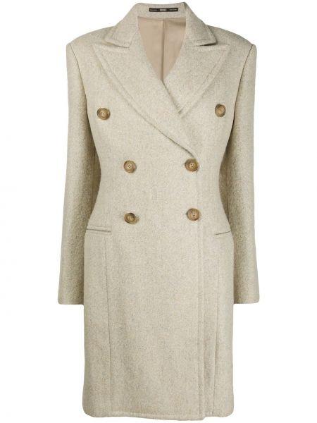 Бежевое шерстяное длинное пальто на пуговицах с лацканами Gianfranco Ferre Pre-owned