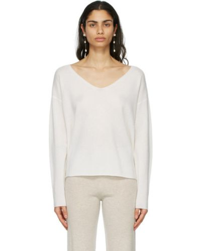 Кашемировый белый длинный свитер с воротником Le Kasha