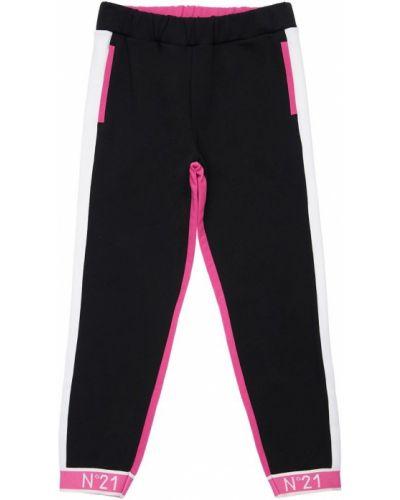 Bawełna czarny joggery z kieszeniami z mankietami N°21