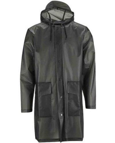 Czarny płaszcz z kapturem z długimi rękawami Rains