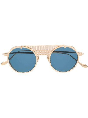 Желтые солнцезащитные очки круглые металлические Matsuda