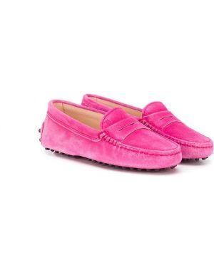 Розовые кожаные мокасины без застежки Tod's Kids