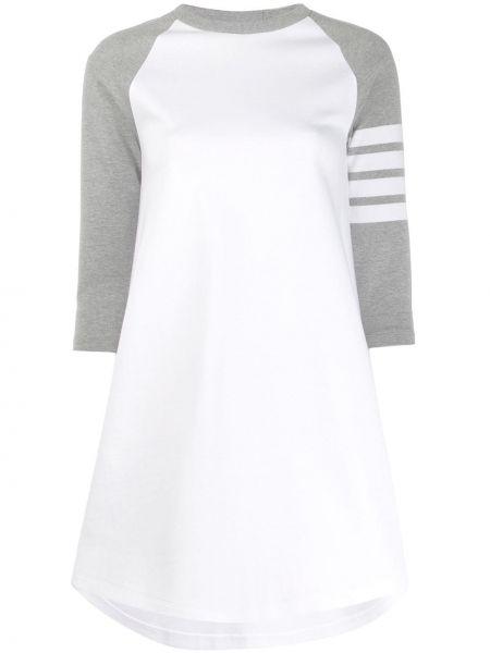 Biała sukienka mini w paski bawełniana Thom Browne