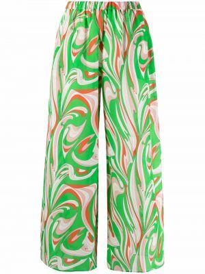 Зеленые хлопковые широкие брюки с принтом Emilio Pucci
