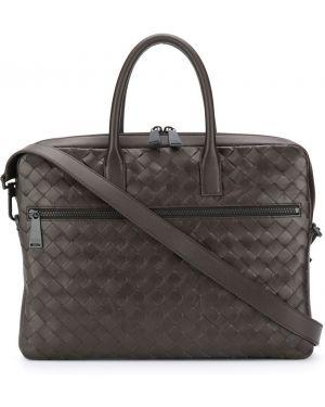 Кожаный коричневый портфель на молнии с карманами Bottega Veneta