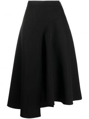 Асимметричная шерстяная черная юбка миди Rochas