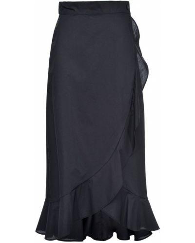 Czarna spódnica maxi z falbanami zapinane na guziki Pinko
