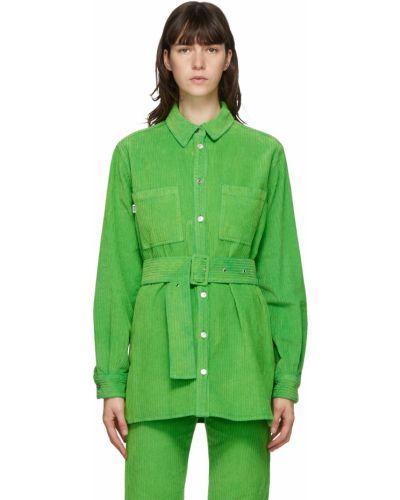 Zielona koszula bawełniana z długimi rękawami Msgm