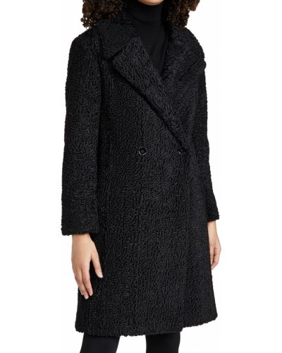 Черное длинное пальто с воротником двубортное Club Monaco