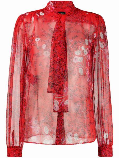 Шелковая красная прямая блузка с длинным рукавом на пуговицах Giambattista Valli