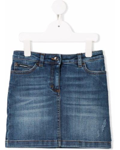 Синяя классическая джинсовая юбка на пуговицах Dolce & Gabbana Kids