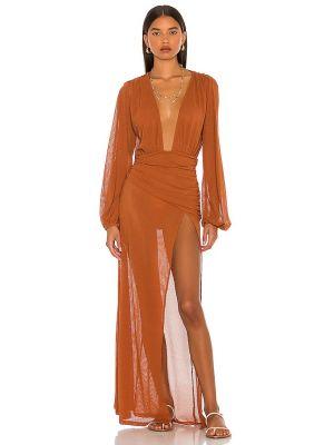Brązowa sukienka z siateczką Camila Coelho