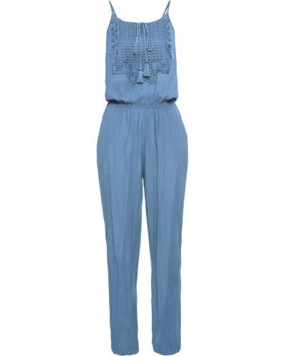 Синий джинсовый комбинезон на бретелях Bonprix