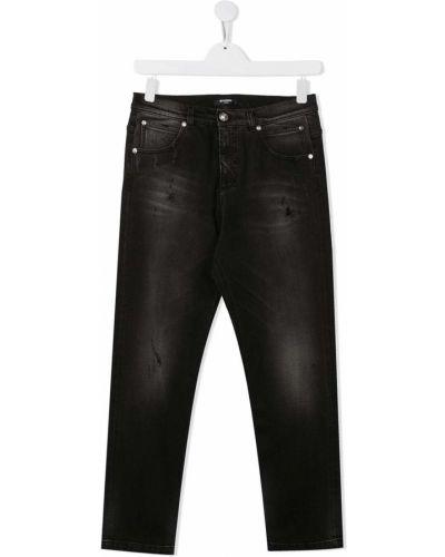 Bawełna czarny bawełna jeansy o prostym kroju z kieszeniami Balmain Kids