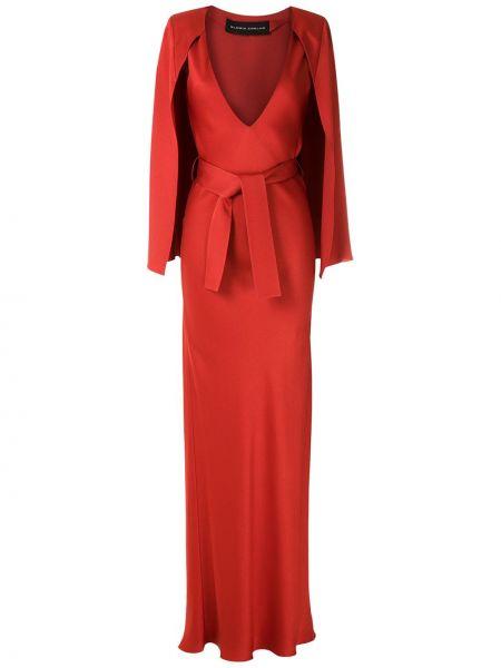 Красное платье макси из вискозы узкого кроя Gloria Coelho