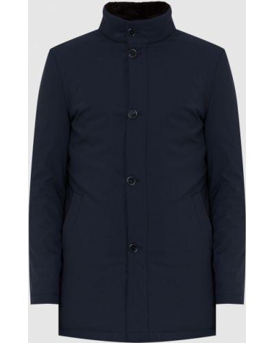 Кожаная куртка с мехом - синяя Enrico Mandelli