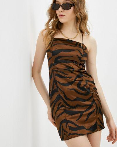 Коричневое вечернее платье Topshop