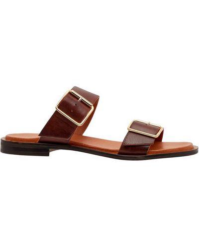 Sandały z klamrą - brązowe Bianco