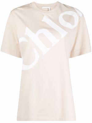 Хлопковая прямая футболка с вырезом с принтом Chloé