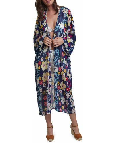 Niebieski kimono z printem z długimi rękawami Lulla Collection By Bindya