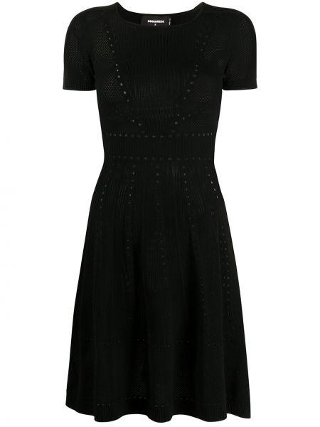Платье мини черное с рукавами Dsquared2