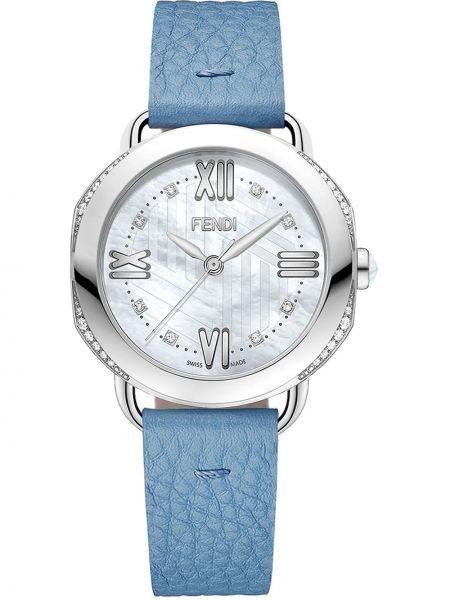 Niebieski zegarek na skórzanym pasku skórzany na co dzień Fendi