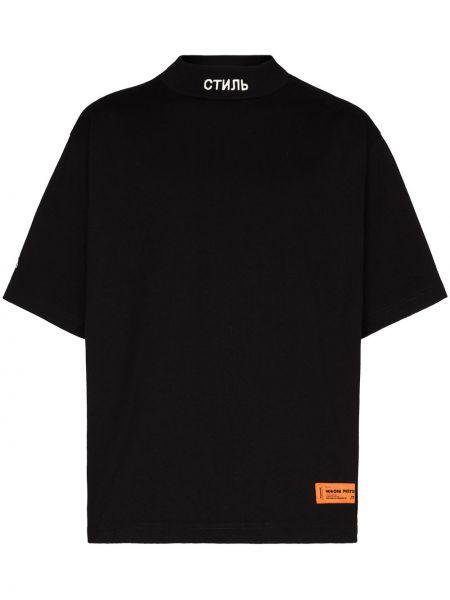 Прямая с рукавами черная футболка Heron Preston