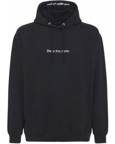 Czarna bluza kangurka z kapturem bawełniana Famt - Fuck Art Make Tees