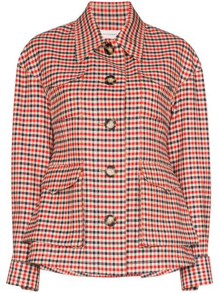 Шерстяной красный пиджак с карманами Wales Bonner