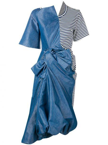 Niebieska sukienka midi asymetryczna krótki rękaw Junya Watanabe