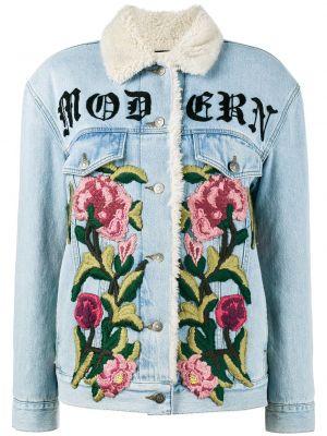 Классическая синяя джинсовая куртка с вышивкой с манжетами Gucci