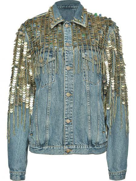 С рукавами синяя джинсовая куртка с воротником Pinko
