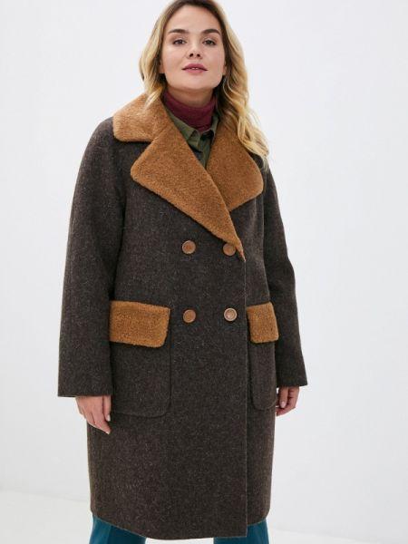 Коричневое зимнее пальто с капюшоном Gamelia