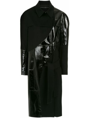Шерстяное черное длинное пальто с поясом Gloria Coelho