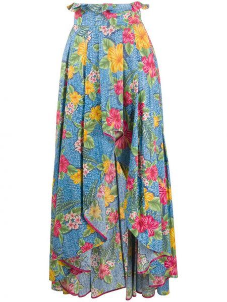 Niebieska spódnica maxi z wysokim stanem bawełniana Ultrachic