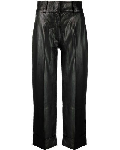 Прямые черные кожаные укороченные брюки Arma