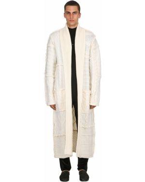 Biały szlafrok z haftem wełniany Triple Rrr