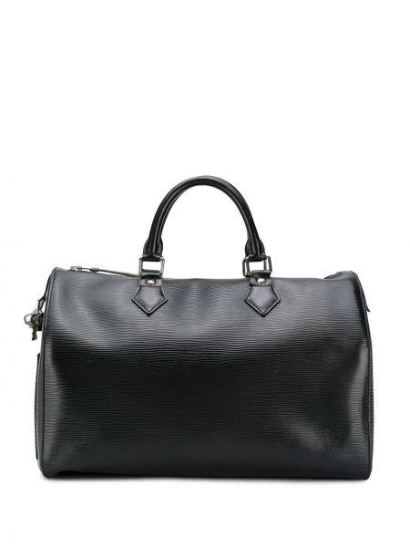 Кожаная черная дорожная сумка круглая на молнии Louis Vuitton